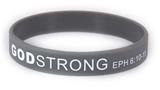 8030016 Set of 3 Adult Grey Band With White Print Godstrong Silicone Band Eph. Ephesians 6 10-12