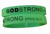 8040009 Set of 3 Glow in the Dark Child Size Imprinted Godstrong Silicone Ban...