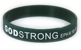 8040013 Set of 3 Green with White Child Size Imprinted Godstrong Silicone Ban...