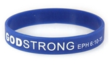 8040014 Set of 3 Blue with White Child Size Imprinted Godstrong Silicone Band...