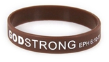 8040015 Set of 3 Brown with White Child Size Imprinted Godstrong Silicone Ban...