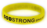 8040017 Set of 3 Yellow with Black Child Size Imprinted Godstrong Silicone Ba...