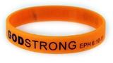 8040018 Set of 3 Orange with Black Child Size Imprinted Godstrong Silicone Ba...