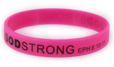 8040019 Set of 3 Pink with Black Child Size Imprinted Godstrong Silicone Band...