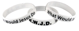 8050001 Set of 3 Adult White Band With Black Print WWJD What Would Jesus Do Silicone B...