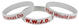8050002 Set of 3 Adult White Band With Red Print WWJD What Would Jesus Do Silicone Ban...