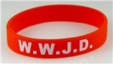8050003 Set of 3 Adult Red Band With White Print WWJD What Would Jesus Do Silicone Ban...