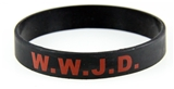 8050004 Set of 3 Adult Black Band With Red Print WWJD What Would Jesus Do Silicone Ban...