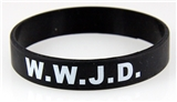 8050005 Set of 3 Adult Black Band With White Print WWJD What Would Jesus Do Silicone B...