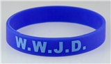 8050007 Set of 3 Adult Blue Band With Lt Blue Print WWJD What Would Jesus Do Silicone ...