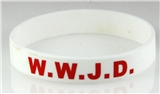 8060002 Set of 3 Child Size White Band With Red Print WWJD What Would Jesus Do Silicon...