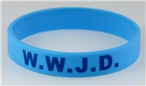 8060008 Set of 3 Child Size Lt Blue Band With Blue Print WWJD What Would Jesus Do Sili...