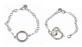 Floating Charm Bracelet Polished Silver Finish with CZ Rhinestones