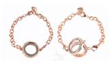Floating Charm Bracelet Rose Gold Finish with CZ Rhinestones