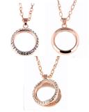Floating Charm Necklace Rose Gold Finish with CZ Rhinestones