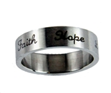 S43 faith Hope Love Stainless Steel band Ring Christian Gift Religious