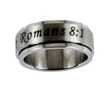 S44 Romans 8:1 Stainless Steel Spinner Band Ring No Condemnation Scripture Christian Religious