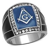 T1 Tqwtk1612CCX Stainless Steel CZ Masonic Ring