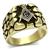 T1 Tqwtk778 Antiqued Stainless Steel Masonic Nugget Ring