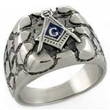 T1 Tqwtk778NXX Antiqued Stainless Steel Masonic Nugget Ring