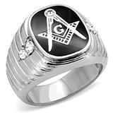 T1 Tqwtk8X024CCX Stainless Steel Black Enamel CZ Masonic Ring