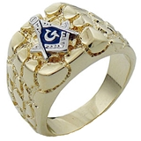 T2 Tqwtk8X039 Highly Polished Gold Plated Stainless Steel Nugget Masonic Ring