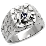 T2 Tqwtk8X039NXX Highly Polished Stainless Steel Nugget Masonic Ring